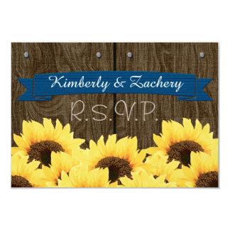 COBALT RUSTIC SUNFLOWER RSVP CARD