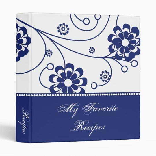 Cobalt Scroll Blooms Recipe Book 3 Ring Binder