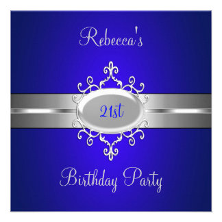 Cobalt Silver Jewel 21st Elegant Birthday Party Custom Announcement