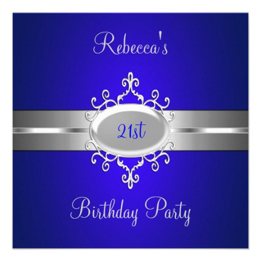 Cobalt Silver Jewel 21st Elegant Birthday Party Custom Announcement