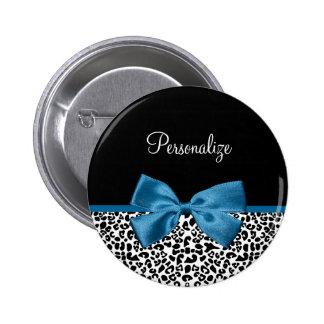Cobalto bonito Blue Ribbon del estampado leopardo Pin Redondo De 2 Pulgadas