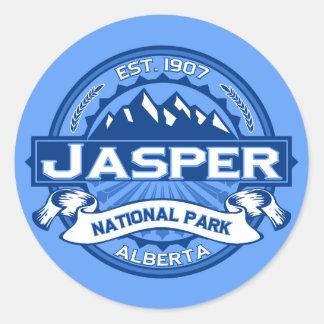 Cobalto del logotipo del jaspe pegatina redonda