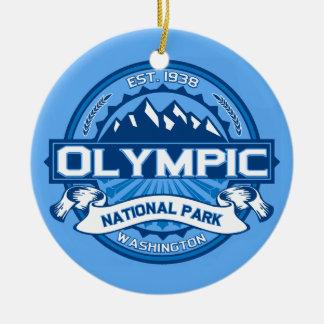 Cobalto olímpico adorno navideño redondo de cerámica