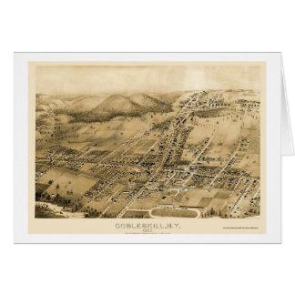 Cobbleskill, mapa panorámico de NY - 1883 Tarjeta De Felicitación