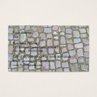 Cobblestone Pavement With Moss Growing Between Sto Business Card