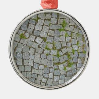 Cobblestone Road Texture Background Metal Ornament