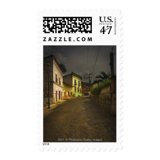 Cobblestone Road & Yellow Buildings in Mexico Postage