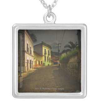 Cobblestone Road & Yellow Buildings in Mexico Silver Plated Necklace