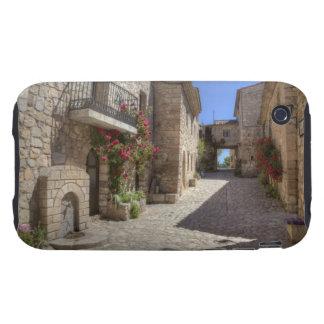 Cobblestone street, stone buildings, historic iPhone 3 tough cover