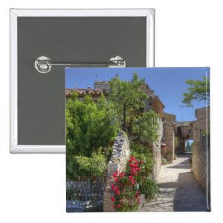 Cobblestone streets, historic stone buildings. pinback button