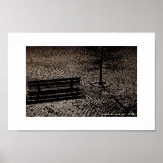 Cobblestoned Street & Bench Print