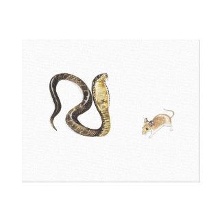 Cobra contra rata impresión en lienzo