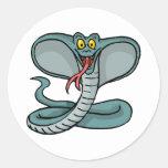 Cobra feliz pegatina redonda