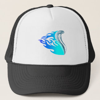 cobra flames design blue trucker hat