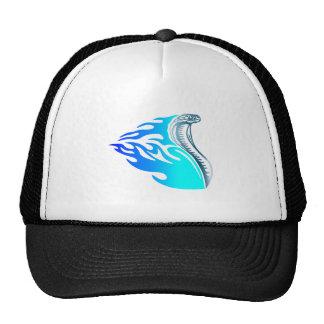 cobra flames design blue trucker hat