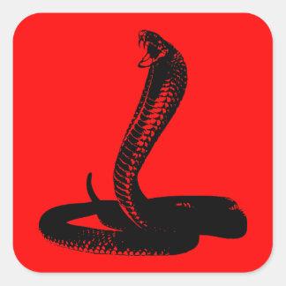 Cobra - negro pegatina cuadrada