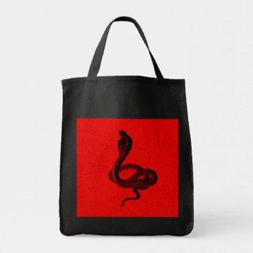 Halloween Themed Cobra on Red Animal Design Tote Bag