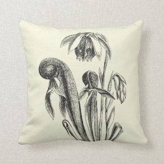 Cobra Plant Vintage Botanical Throw Pillow
