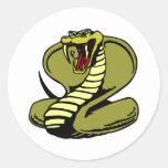 Cobra real blanca pegatina redonda