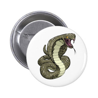 Cobra snake about to strike pinback buttons