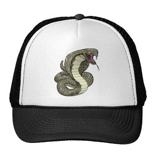 Cobra snake about to strike trucker hat
