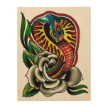 Cobra Snake and Rose Old School Traditional Tattoo Wood Print