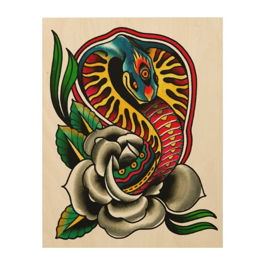 Cobra Tiger by Josh Persons Traditional Style Tattoo Fine Art Print Roses Snake