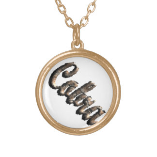Cobra - threedimensional snake skin text - gold plated necklace