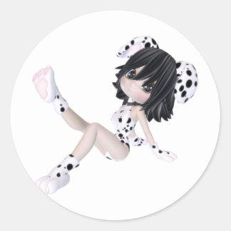 ♥ cobrable del arte de la muñeca del perrito del ♥ pegatina redonda