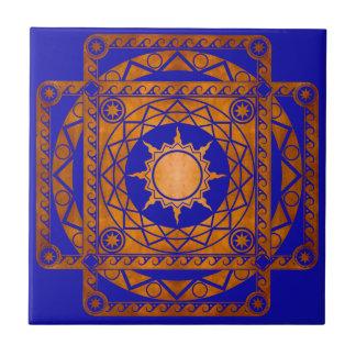 Cobre de la Atlántida de los artes en azul Azulejo Cuadrado Pequeño