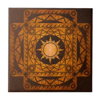 Cobre de la Atlántida de los artes en el cuero de  Azulejo Cuadrado Pequeño