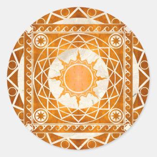 Cobre de la Atlántida de los artes en el mármol Pegatina Redonda
