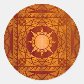 Cobre de la Atlántida de los artes en la madera de Pegatina Redonda