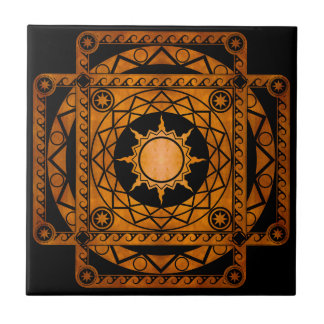 Cobre de la Atlántida de los artes en negro Azulejo Cuadrado Pequeño
