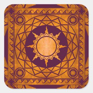 Cobre de la Atlántida de los artes en púrpura Pegatina Cuadrada