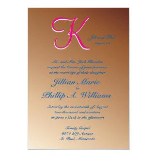 cobre del monograma 3d invitación 12,7 x 17,8 cm