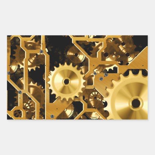 Cobre del oro y dientes de Brown, engranajes Pegatina Rectangular