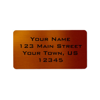 Cobre metálico etiquetas de dirección