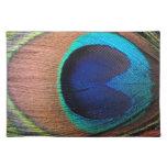 Cobre/trullo/pluma azul del pavo real manteles individuales
