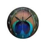 Cobre/trullo/pluma azul del pavo real relojes