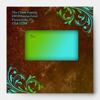 Cobre verde azul de Brown del Grunge del boda del  Sobre