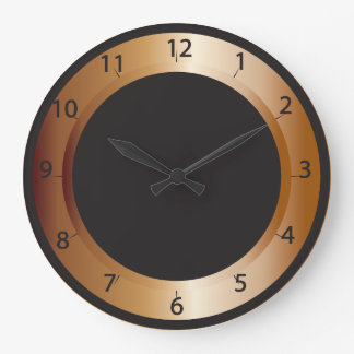 Cobre y diseño del negro reloj redondo grande