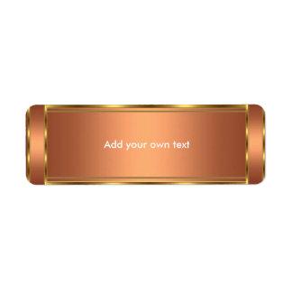 Cobre y oro de la etiqueta autoadhesiva etiquetas de remite