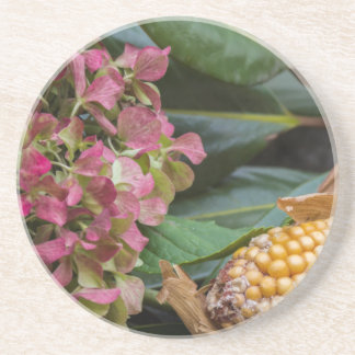 cobs and dried  hydrangea drink coaster