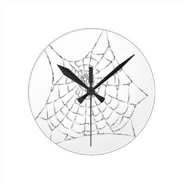 Halloween Themed Cobweb Round Clock