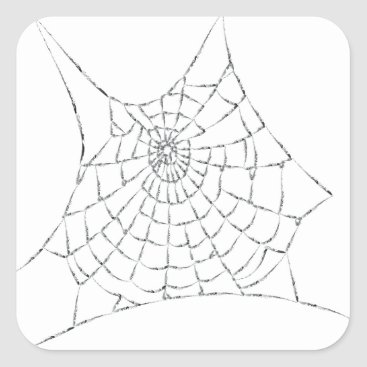 Halloween Themed Cobweb Square Sticker
