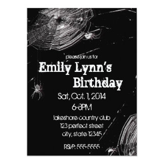 Cobwebs and White Spiders Birthday 6.5x8.75 Paper Invitation Card
