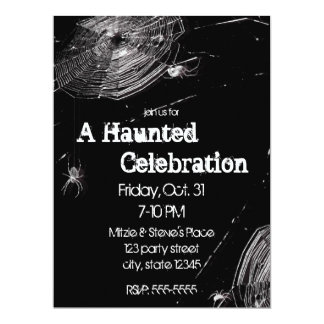 Cobwebs and White Spiders Halloween Party 6.5x8.75 Paper Invitation Card