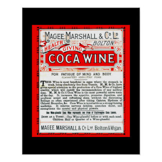 Coca Wine Vintage Remedy copy of 1800's ad Poster