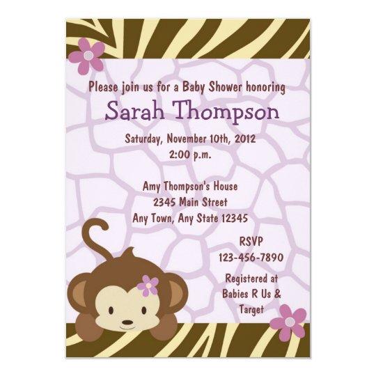 Cocalo Jacana Monkey Baby Shower Invitations Zazzlecom